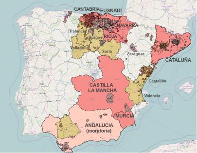 MApa fracking España con Burgos