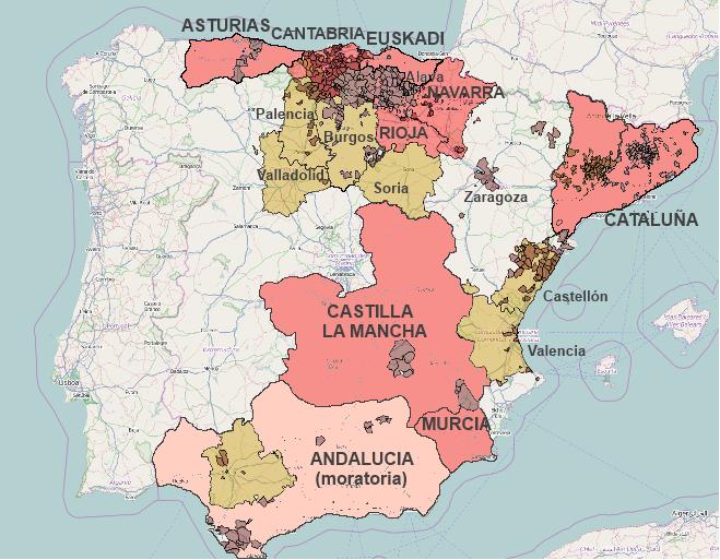 Mapa fracking espa a con asturias burgos libre de fracking for Canal castilla la mancha